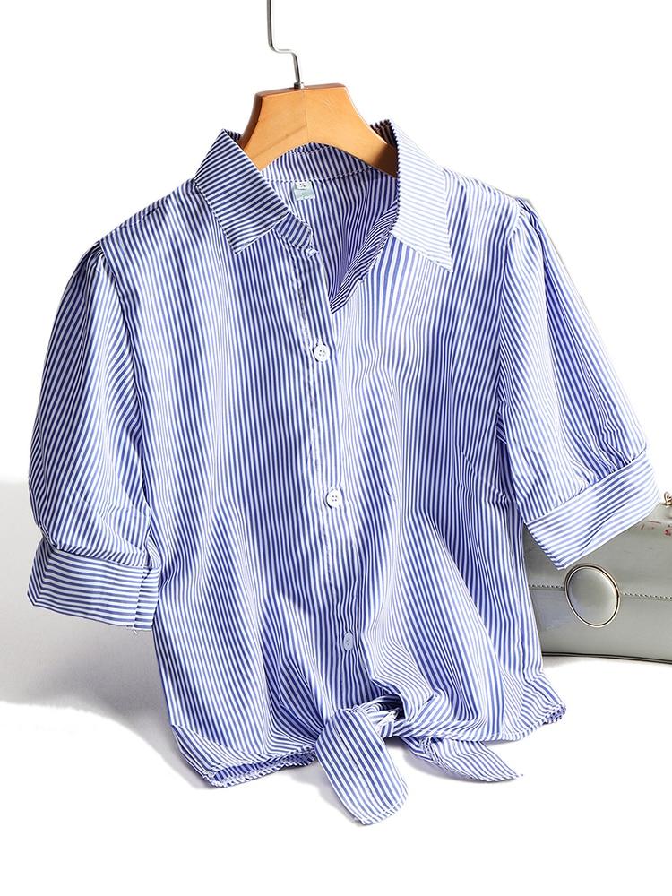 Zjaiss Chic Style Women Striped Shirts Fashion Crop Tops White Blouse All-match Blue Shirts Female Blusas 2020 Summer Plus Size