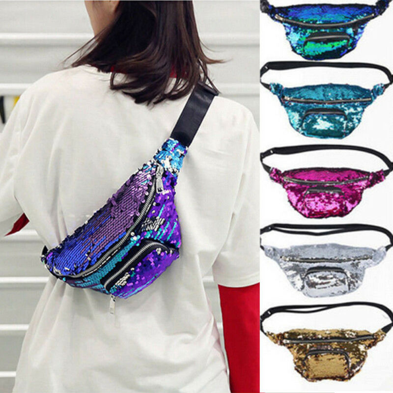 Women Girls Sequins Glitter Waist Bag Fanny Pack Pouch Hip Purse Satchel Fashion Cool Crossbody Shouder Waist Pack Pocket Belt