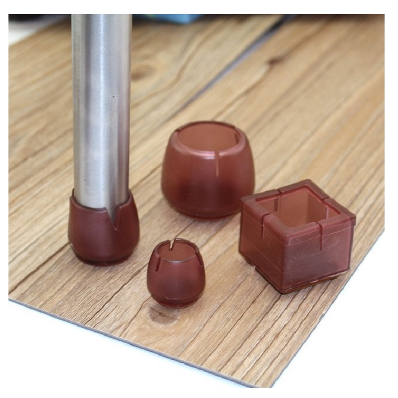 Brown PVC Furniture Legs Caps For Chair Table Leg Protector Non-slip Wear-resisting Leg Cover Protect Wood Floor Room Decoration