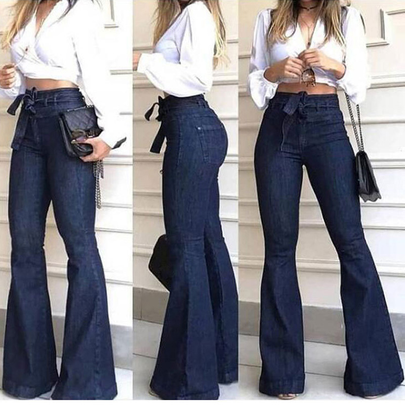 Newest Women High Waist Jeans Micro-elastic Flared Lace-up Comfortable Jeans Trousers
