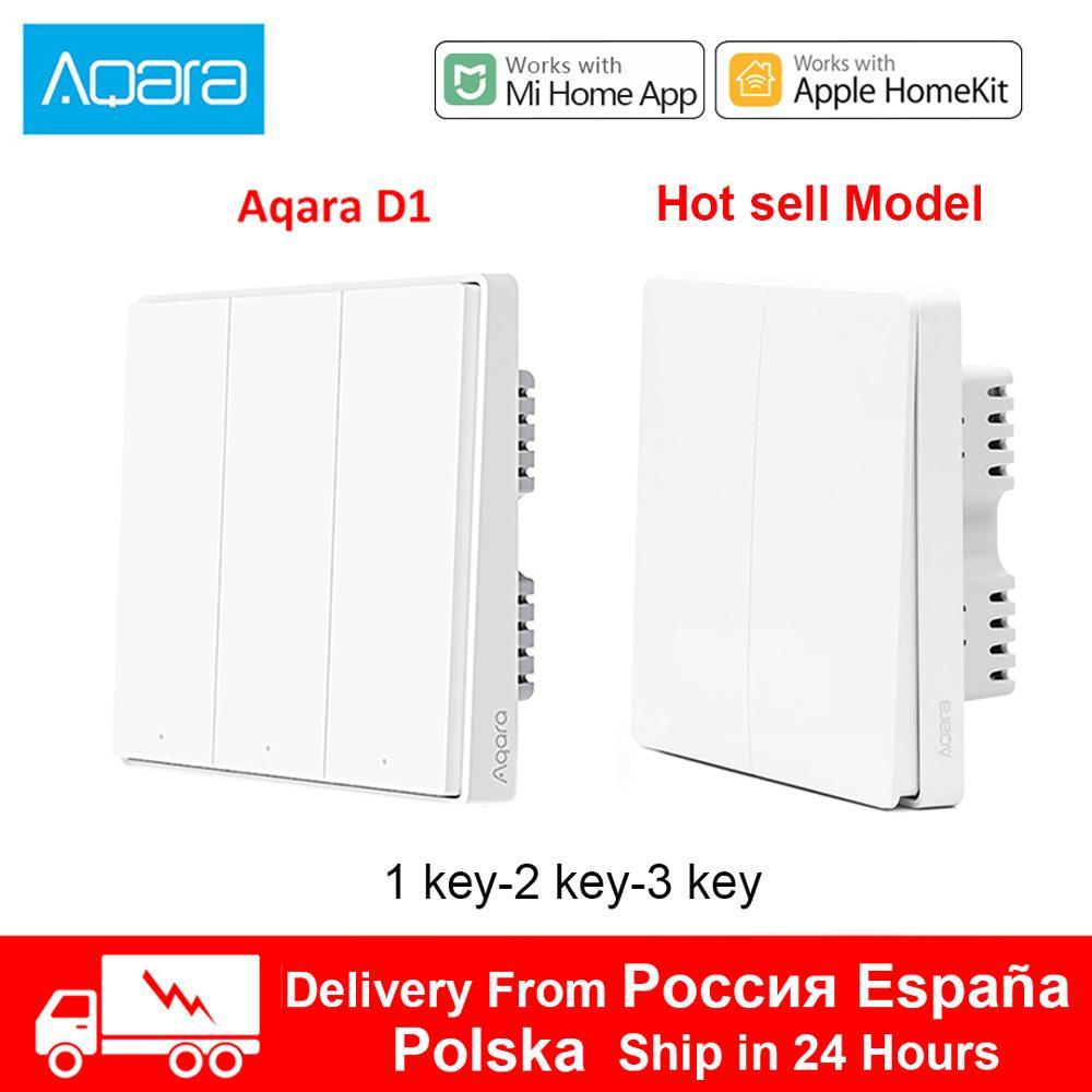 Xiaomi Aqara Wall Switch D1 ZigBee Smart Zero Line Fire Wire Light Remote Control Wireless Key Wall Switch no Neutral homekit(China)