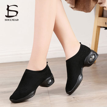 modern dance sneakers for women ladies soft bottom square heel jazz dancing boots middle heels 4cm autumn winter fitness shoes New Dancing Shoes For Women Flying Weave Dance Sneakers Ladies Girl's Comfortab Jazz Dance Shoes Female Modern Sport Shoes 35-42
