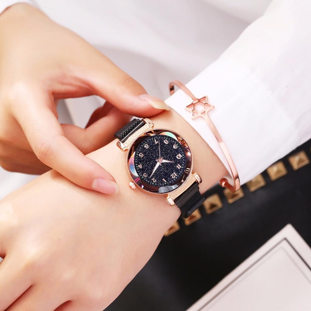 Women Magnet Buckle Starry Sky Luminous Watch Luxury Ladies Stainless Steel Quartz Watch Relogio Feminino