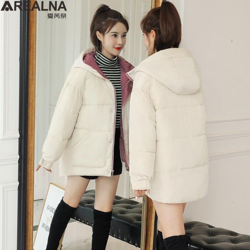 Thicken Women   Parkas   2019 New winter jacket women hooded Casual Loose Down Jacket Female Warm Cotton Padded Winter Coat Women