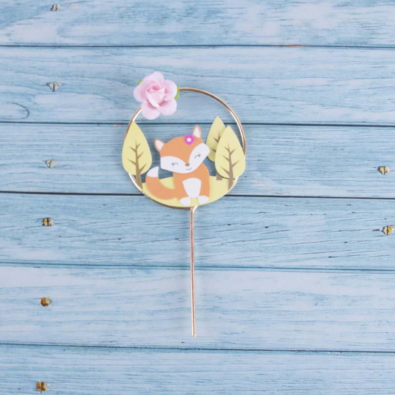 Image 4 - Beautiful Forest Animal Theme Cake Decoration Fox Squirrel Flower Wreath Garland Cake Topper Child Birthday Party Supplies-in Cake Decorating Supplies from Home & Garden