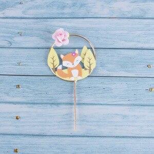 Image 4 - Decoración de Pastel con tema de animales de bosque hermoso, corona de flores de ardilla de zorro, para pastel guirnalda, Topper para fiesta de Cumpleaños de Niños, suministros