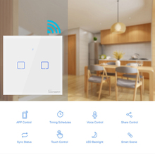 SONOFF T1 WiFi Smart Switch With 2 Gangs,Works with Amazon Alexa And Google Assistant ,Compatible With IFTTT Function