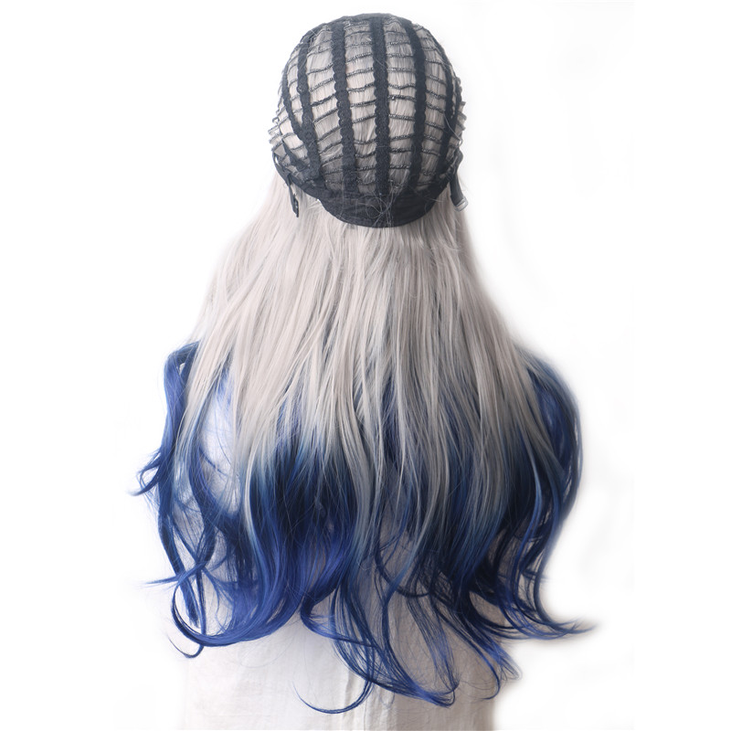 Closeout Deals—Woodfestival Synthetic Wigs Long-Hair Heat-Resistant Grey Female Black Pink Purple Blue