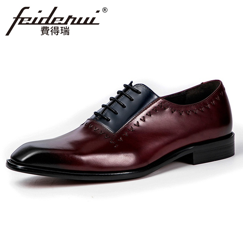Plus Size Mixed Colors Genuine Leather Handmade Men's Party Oxfords Square Toe Man Formal Dress Wedding Shoes For Suit ASD187