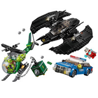 76120 513Pcs Legoinglys Super Heroes Series The Batman Batwing and The Riddler Heist Model Building Blocks Bricks Toys Gift