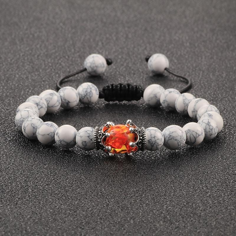 Bracelets for Men Women Natural Tiger Eye Stone Black Lava Beads Imperial Crown Braid Strand Stretch Bracelet Jewelry Adjustable