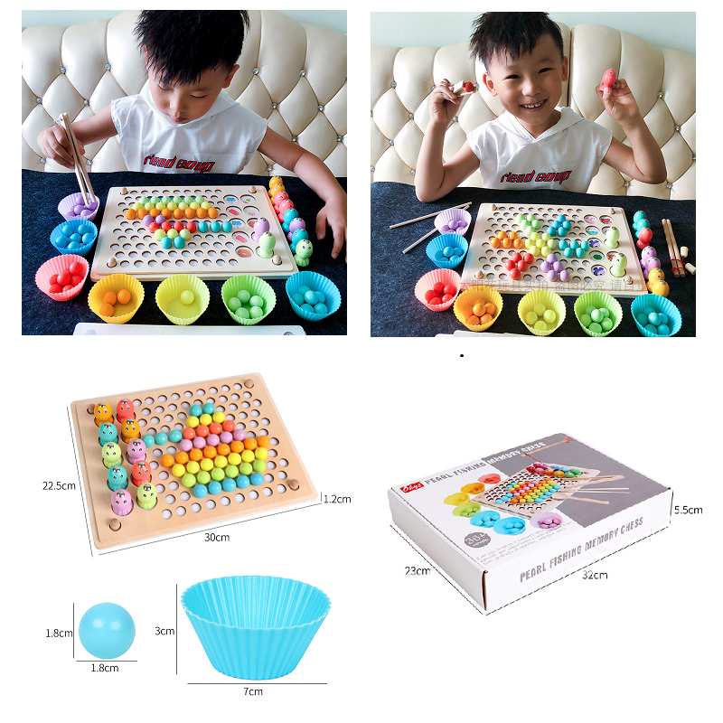 Kids Toys Montessori Wooden Hands Brain Training Clip Fishing Beads Puzzle Board Math Game Baby Early Educational Toy Child Gift