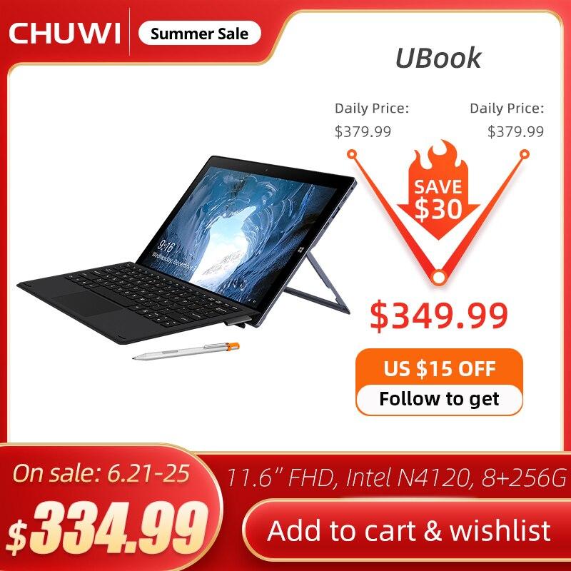 CHUWI UBook 11,6 дюймов IPS Экран планшетный ПК Intel Celeron N4120 4 ядра LPDDR4 8 Гб 256 ГБ хранения SSD ОС Windows 10 планшет