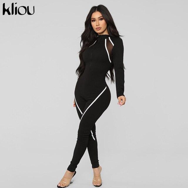 Kliou women full sleeve jumpsuit mesh fabric patchwork elastic skinny rompers 2019 casual zipper fly turtleneck long bodysuit
