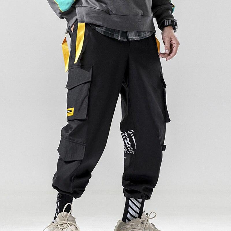Patchwork Pocket Tag Cargo Pants Men Letter Purple Ankle Tactical Pants Male White Boy Fashion Casual Safari Off Style Pant