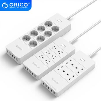 ORICO Power Strip EU US UK Plug 6 Outlet Surge Protector EU Power Strip with 5x2.4A USB Super Charger Ports - White(HPC-V1)