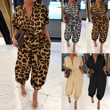 30h Women Leopard Print Jumpsuits Lapel Slim Bodysuit Long Button Women Rompers Oversized Short Sleeve Jumpsuits Droshipping 1