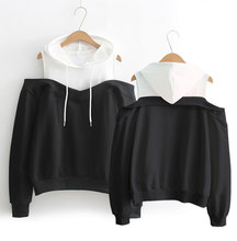2019 Autumn and winter New Fashion Black White Spell Color Patchwork Hoodies Women Cotton O-Neck Pullover Sweatshirt Female
