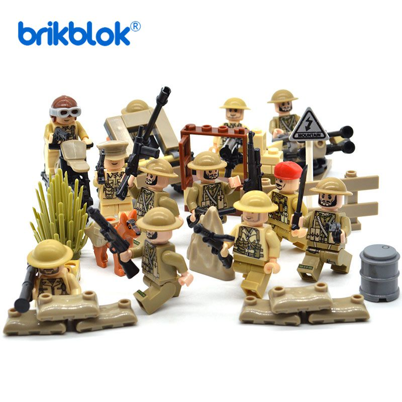 WW2 Military Sets Soldiers Army LEgoings Weapons Construction Kit Building Blocks Kids Toys For Children
