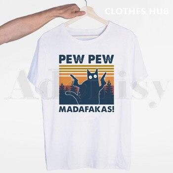 Pew Pew Madafakas T Shirt Novelty Funny Cat Vintage Crew Neck Summer Men's T Shirt O-neck Casual T-shirt Man Tees Tops цена 2017