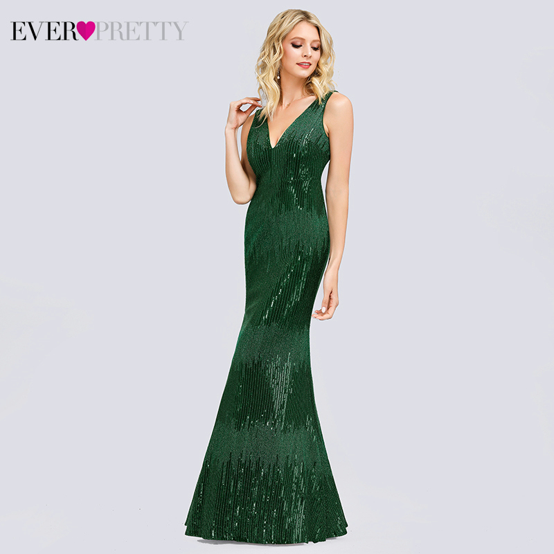Sexy Mermaid Evening Dresses Long Ever Pretty EP00854 Sequined Double V-Neck Formal Dress Women Elegant Party Gowns Gala Jurken
