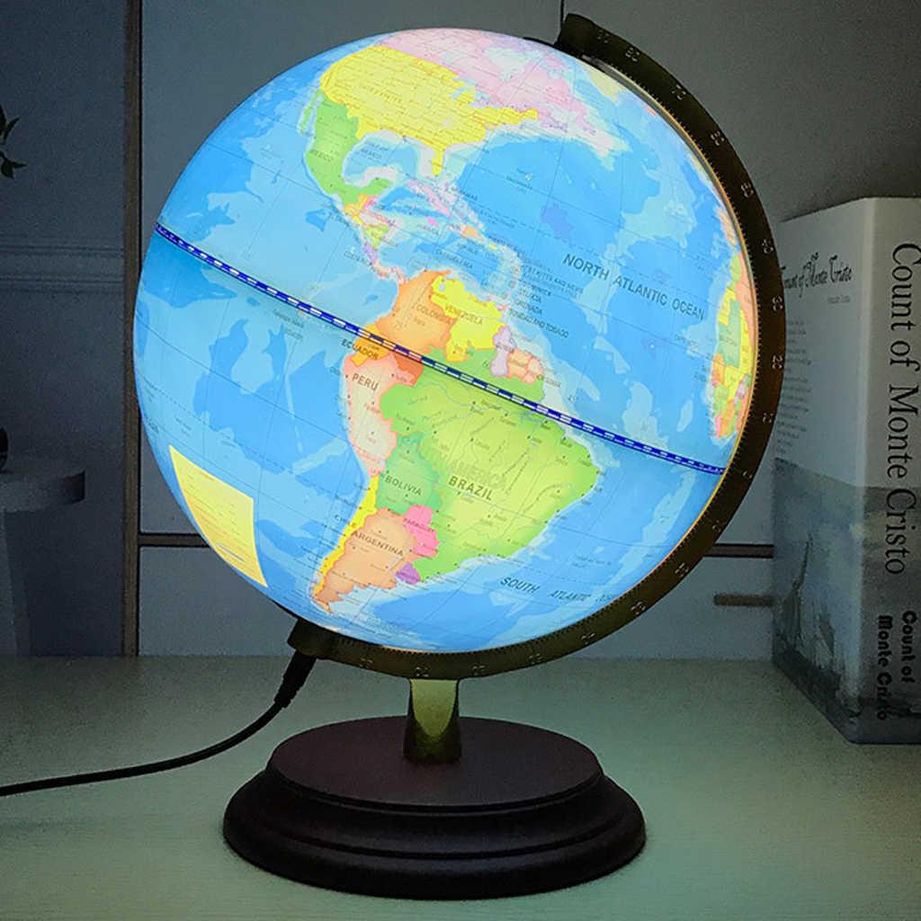Retro Style geographic globus Map Lights lampa zabawka edukacyjna niebieska