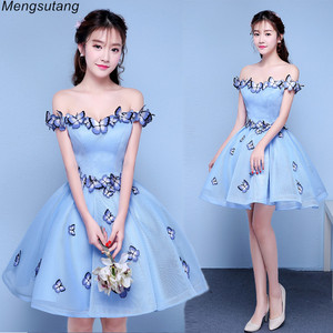 Robe de soiree Light blue Sexy Off the Shoulder Butterfly Pleated Ball Gown Evening Dresses vestido de festa Formal Prom Dresses(China)