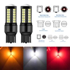Image 1 - 2PC T20 W21/5 W 7443 7440 W21W BAU15S bay15d T25 3157 5630 33SMD LED Canbus שגיאת משלוח 12 V 24 V רכב בלם אור הפעל הפוך מנורה