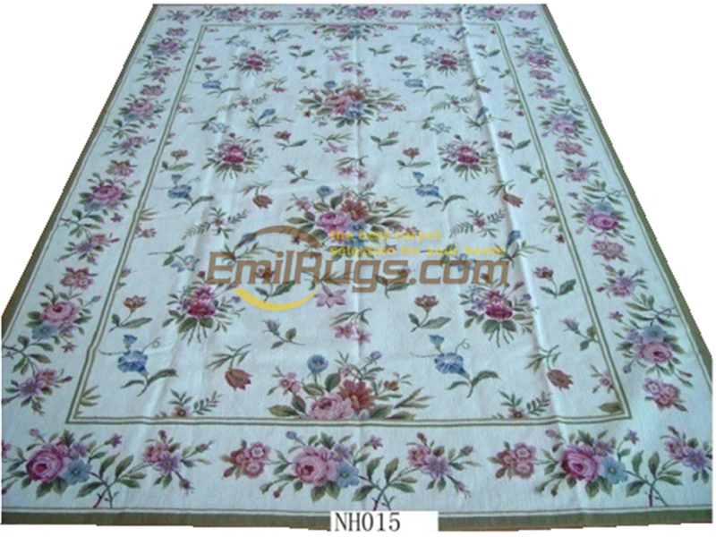 Hand-stitched Floral Needled Blanket Antique Chinese Hand-made Wool Museum Wool Rug Carpet  Ht015 8x10