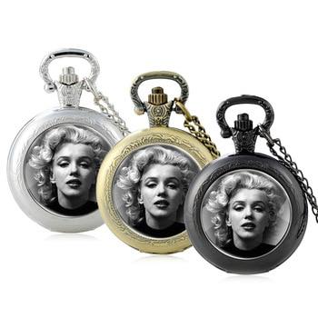Classic Fashion Marilyn Monroe Design Glass Cabochon Quartz Pocket Watch Vintage Men Women  Pendant Necklace Chain Clock Gifts new arrive sliver chain necklace michael jackson glass pendant statement cabochon necklace men women jewelry gifts
