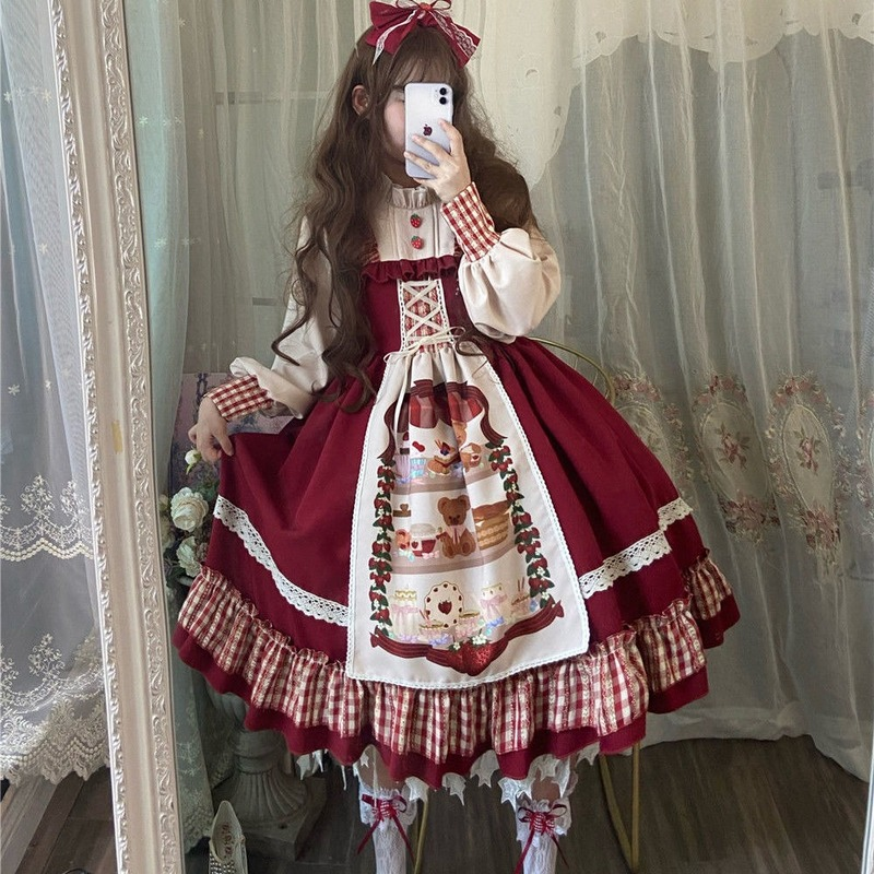 QWEEK Christmas Lolita Dress Kawaii Women New Year 2021 Sweet Lace Ruffle Patchwork Puff Long Sleeve Dress Red Princess Plaid