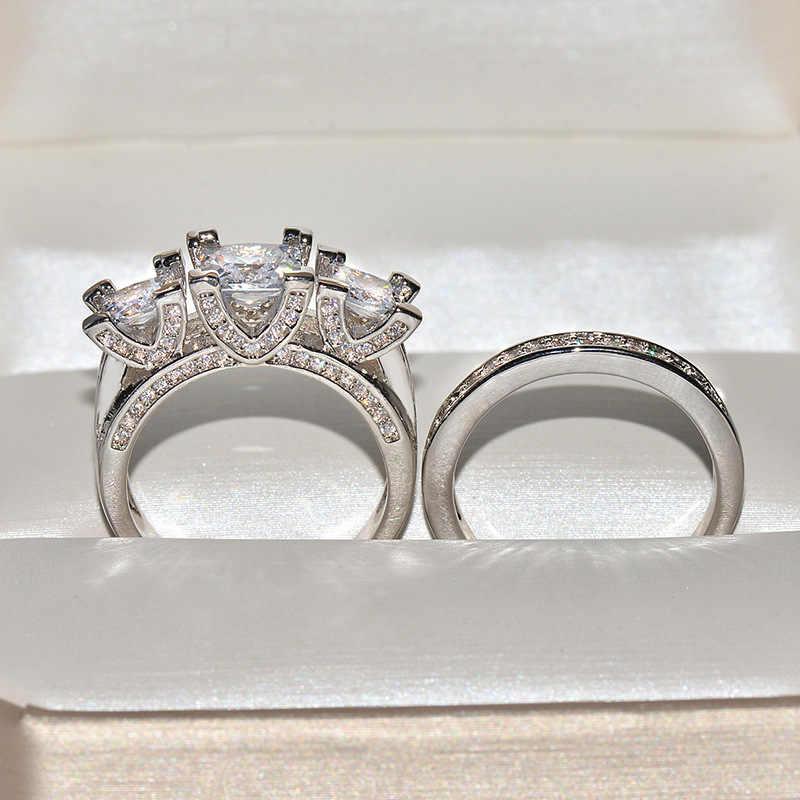 2 Stks/set Hot Koop Grote Zirkoon Cz Stone Bling Zilver Kleur Wedding Engagement Ring Set Voor Vrouwen Mode-sieraden Cadeau 2019