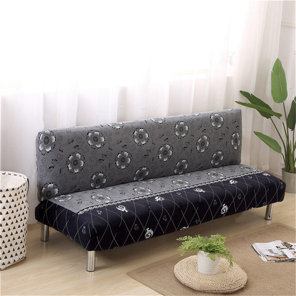 Elastic Armless Sofa Bed Cover Folding Modern Seat Slipcovers Stretch Covers Couch Protector Futon Spandex Cover