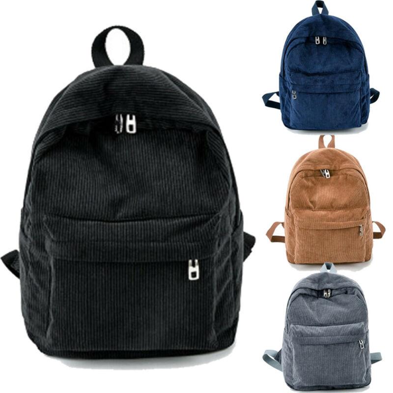 Fashion New Women's Backpack Corduroy School Bag Solid Zipper Large Capacity Student Girl Women's Backpack