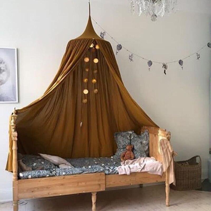 KAMIMI 아기 캐노피 모기장 7 색 매달려 아이 아기 침구 돔 침대 면화 침대 커버 아기 침대 커튼 홈 장식