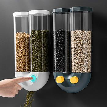 Cereal Dispenser Plastic Storage Box Organizer Wall-mounted Food Storage Box Airtight Household Kitchen Bean Rice Grain Tank image