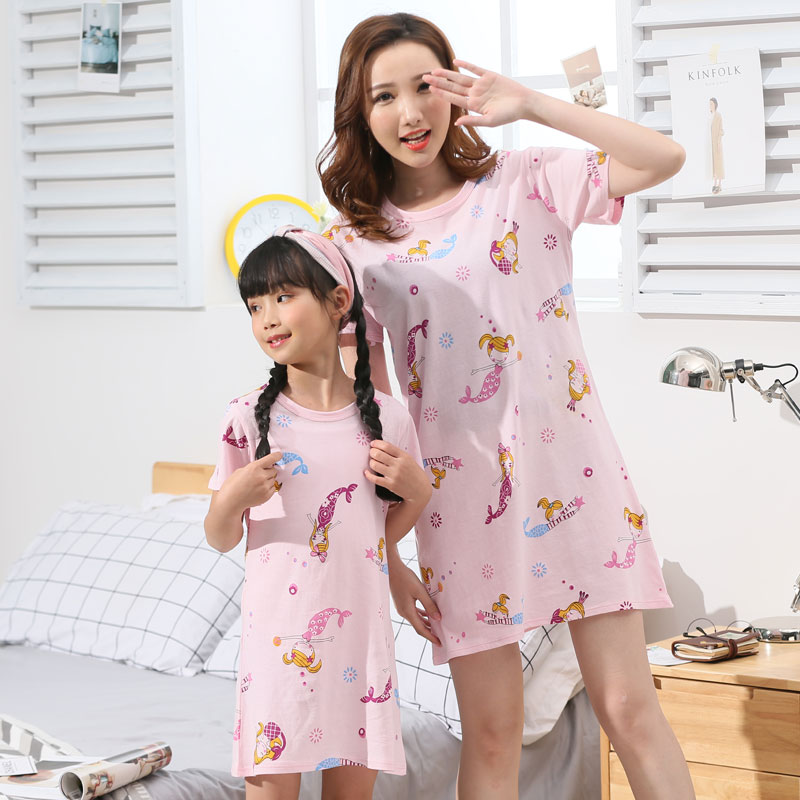 New Summer Girls Nightgown Pajamas Kids Short Sleeved Nightdress Cute 100%cotton Child Baby Sleeping Dress Size 8 10 12 14 Years