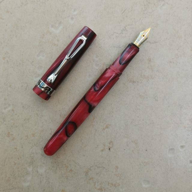Eski stok GLM kırmızı reçine dolma kalem mürekkep kalem dönüştürücü kalem kırtasiye ofis okul malzemeleri penna stilografica
