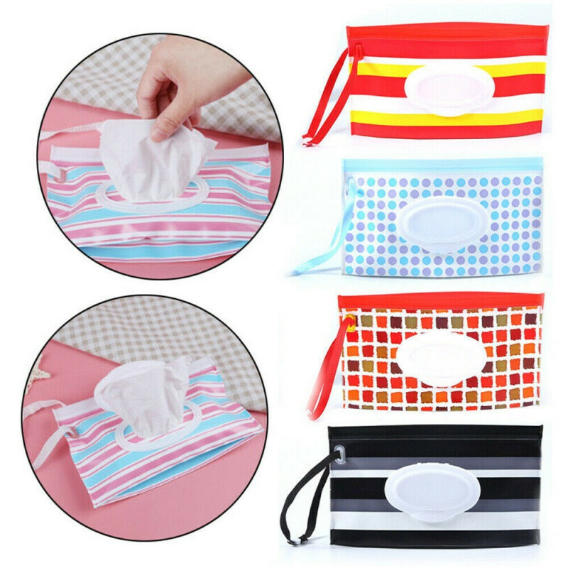 1pc Eco-friendly EVA Box High Quality Casual Striped Travel Clutch Pouch Holder Reusable Refillable Portable Baby Wipe Container