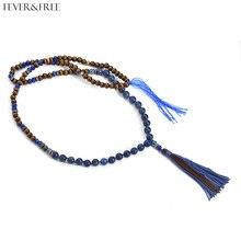 Fever&Free Bohemia Ethnic Jewellery Brown And Blue Stone Ketting Necklaces Handmade Tassel Pendant Frete Gratis Choker