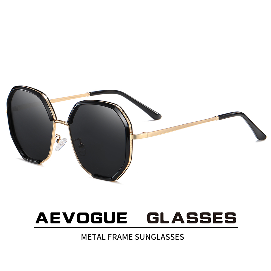 AEVOGUE New Women Metal Polygon Oversize Fashion Travel Polarized Sunglasses Gradient Lens Driving Glasses UV400 AE0840