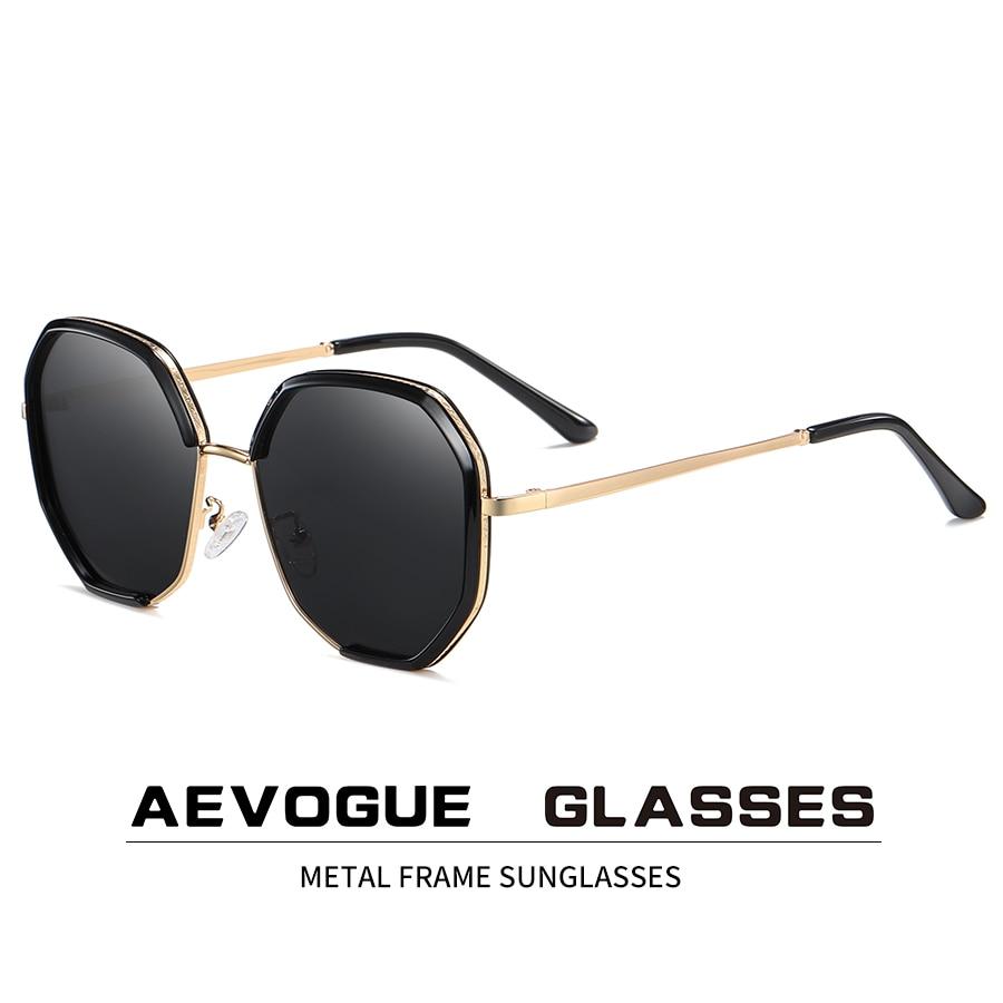 AEVOGUE New Women Metal Polygon Oversize Fashion Travel Polarized Sunglasses Gradient Lens Driving Glasses UV400 AE0840