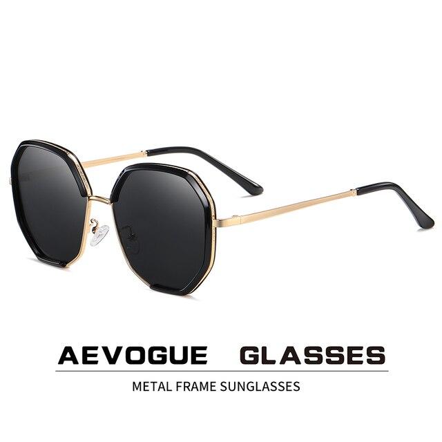Aevogue新女性金属ポリゴン特大ファッション旅行偏光サングラスグラデーションレンズ駆動メガネUV400 AE0840