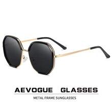 Aevogue nova mulher metal polígono oversize moda viagem polarizado óculos de sol lente gradiente óculos de condução uv400 ae0840