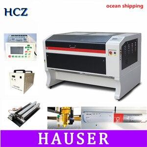 Máquina de gravação a laser co2 reci 100w, usb, auto foco, máquina de corte a laser com sistema dsp, máquina de gravação, refrigerador 1000x600mm