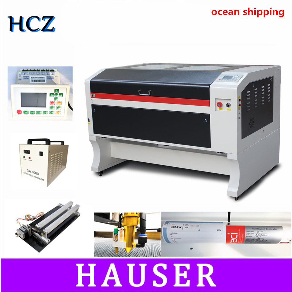 RECI 100W Co2 Laser Engraving Machine USB Auto Focus Laser Cutting Machine With DSP System Engraving Machine Cooler 1000 X 600mm