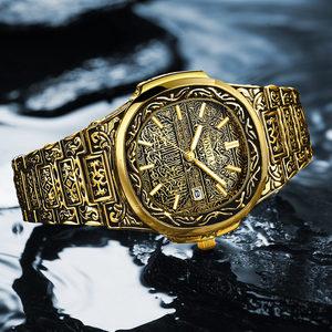 Image 3 - אופנה קוורץ שעון גברים מותג ONOLA יוקרה רטרו זהב נירוסטה גברים שעון זהב mens שעון reloj hombre