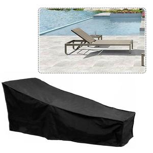 Outdoor Sun Lounge Chair Cover 210D Oxford Black Furniture Dust Cover Waterproof Portable Lounge Chair Protective Cover