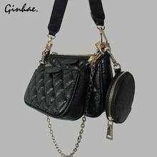 Luxury Diamond Lattice Chain Shoulder Bag Set For Women PU Leather Plaid Handbags And Purses Vintage Solid Flap Bag Bolsos Mujer