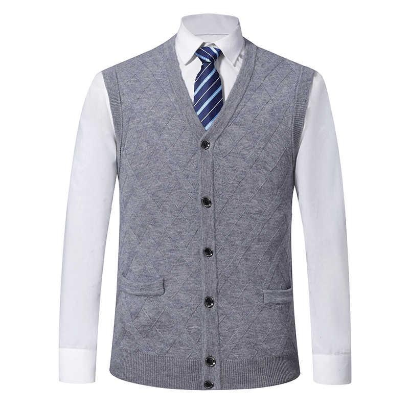 6% 양모 패션 민소매 스웨터 망 카디 건 V 목 슬림 맞는 점퍼 니트 따뜻한 가을 조끼 캐주얼 의류 남성